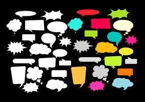 Elementi di design per discorso, messaggio, social network. Illustrazione vettoriale ed elementi grafici.