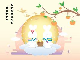 Insegna di Chuseok design.persimmon albero sul fondo di vista della luna piena.