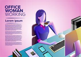 arte donna d'ufficio vettore