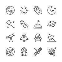Set di icone dello spazio. Illustrazione di vettore