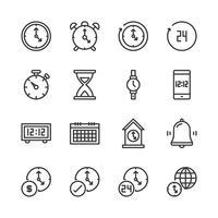Set di icone di tempo e orologio. Illustrazione di vettore
