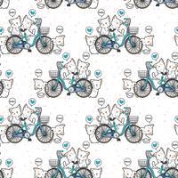 Modello di gatti e biciclette kawaii senza soluzione di continuità vettore