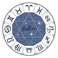Zodiaco. Segni. Simbolo astrologico Oroscopo. Astrologia. Mistico. Vettore.