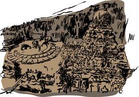 illustrazione di vettore del tempio di ellora