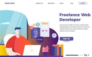 modello di pagina di destinazione per sviluppatore web freelance. Illustrazione del sito Web di codifica degli uomini vettore