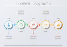 Visualizzazione dei dati aziendali. Icone infographic di cronologia progettate per modello astratto