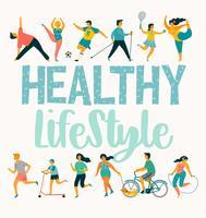Vector tempale con persone che conducono uno stile di vita attivo e sano.