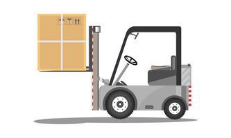 Vector la progettazione del carrello elevatore a forcale con la scatola di cartone alzata isolata sull'illustrazione piana del caricatore delle azione dell'icona del fondo bianco.