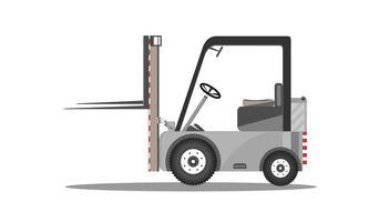 Vector la progettazione del carrello elevatore a forcale con cartone sollevato isolato sull'illustrazione piana del caricatore delle azione dell'icona del fondo bianco.
