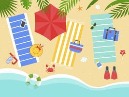Vacanza estiva, spiaggia con il vettore dell'attrezzatura della spiaggia