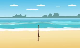 Pallavolo sulla spiaggia in estate vacanze e vista sul mare vista sullo sfondo. illustrazione vettoriale di design