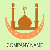 Logo vettoriale moschea islamica moderna e icona su sfondo di colore verde morbido