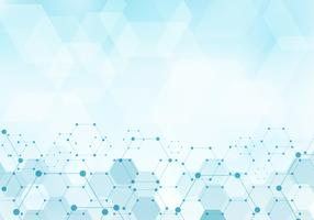 Gli esagoni astratti modellano la molecola sul concetto digitale della tecnologia blu del fondo con lo spazio della copia. Elementi geometrici per modello di design moderne comunicazioni, medicina, scienza e tecnologia. vettore