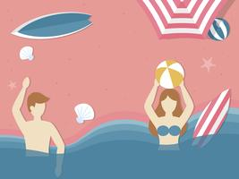 Spiaggia di vacanza estiva, giocando a palla nel vettore di mare
