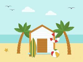 Vacanze estive, bungalow sul vettore spiaggia