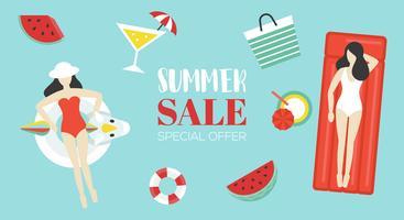 Manifesto di vendita di estate con oggetto correlato estate su priorità bassa vettore