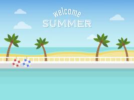 Vacanze estive, piscina sul mare vettore
