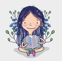 Ragazza carina che legge un cartone animato del libro