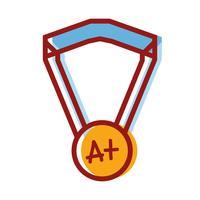 simbolo della medaglia di scuola per studente intelligente vettore