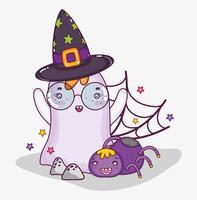 Cartone animato di halloween fantasma carino vettore
