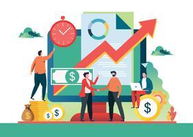 Concetto di investimenti finanziari Assistente commerciale illustrazione vettoriale.