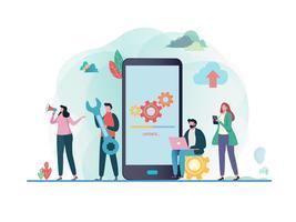 Programmi di aggiornamenti di sistema. applicazione mobile. Illustrazione vettoriale piatto