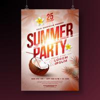 Vector Summer Party Flyer Design con fiore, cocco e palme tropicali su sfondo tramonto splendente. Illustrazione di vacanze estive con piante esotiche