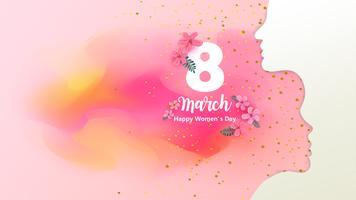 8 marzo. Felice giorno della donna. Silhouette di una donna con sfondo rosa acquerello. Illustrazione vettoriale EPS10.