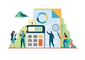 Audit finanziario. Incontro con i consulenti Concetto di business illustrazione vettoriale.