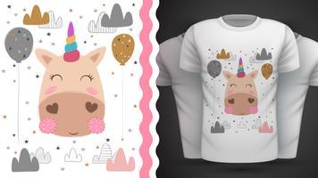 Magia, unicorno - idea per t-shirt stampata vettore