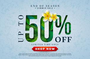 Progettazione di saldi estivi con fiore e foglie di palma tropicali in tipografia lettera su sfondo blu. Illustrazione di offerta speciale di fine stagione vettoriale con elementi di vacanze estive