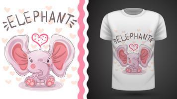 Teddy elephant - idea per t-shirt stampata vettore