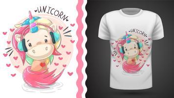 Carino unicorno di teddy music - idea per la t-shirt stampata. vettore