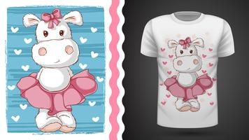 Ippopotamo carino - idea per t-shirt stampata