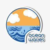 onde dell'oceano con design nuvole lanscape