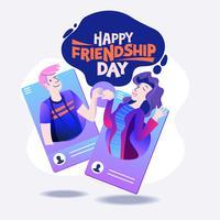 Felice giorno di amicizia. Illustrazione vettoriale di amici dai social network