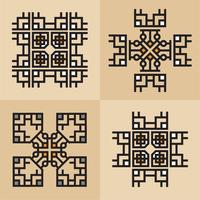 Lusso giapponese, calligrafico, linee eleganti ornamento azteco vettore