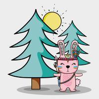 simpatico coniglio tribale con piume e pini