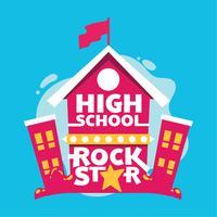Frase del rock star della High School, costruzione della High School, illustrazione di Back to School vettore