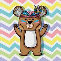 animale orso tribale con disegno di piume vettore
