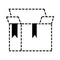 design aperto di oggetto di pacchetto di forma di scatola di forma tratteggiata