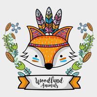 volpe animale tribale con disegno di piume vettore