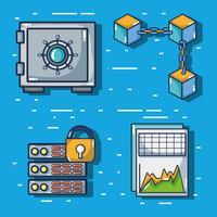 cubetti di blockchain tecnologia di sicurezza digitale vettore
