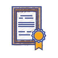certificato di diploma di laurea con design del telaio in legno vettore