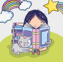 Ragazza carina che legge un cartone animato del libro vettore