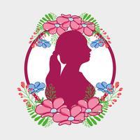 silhouette donna fucsia con fiori e foglie di design