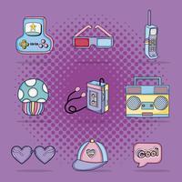 Set di cartoni animati pop art vettore