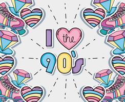 Amo i cartoni degli anni '90 vettore