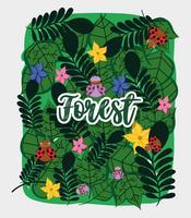 Foresta di fiori e foglie vettore