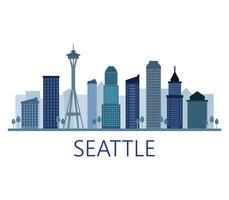 Skyline di Seattle su uno sfondo bianco